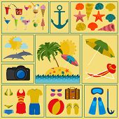 Travel. Vacations. Beach resort set icons. Elements for creating your own infographics.
