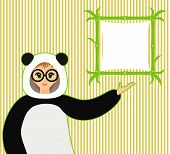 Vector illustration of cute smiling girl in panda suit and bamboo textboard on yellow stripes backgr