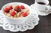 Cereal With Fresh Strawberries And Raspberries For Breakfast