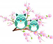 Two Blue Owls On Pink Tree