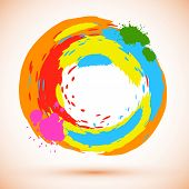 Vector round design element created from bright colored ink splashes