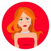Vector illustration of red haired woman in red dress