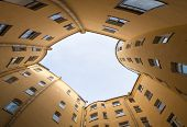 picture of sankt-peterburg  - typical architecture of a narrow courtyard Sankt - JPG