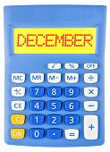 Calculator With December On Display