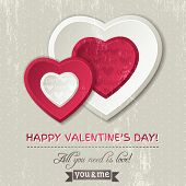 Background With  Two Valentine Hearts And Wishes Text,  Vector