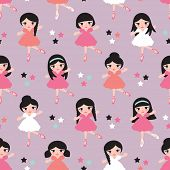 Seamless cute ballerina illustration dancing girls friends kids colorful background pattern in vector