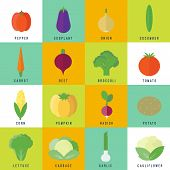 Icons With Vegetables In Flat. Vector Illustration