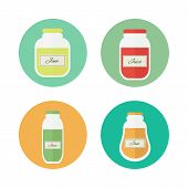 Jam And Juice Isolated Vector Flat Icons