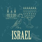 Israel landmarks. Retro styled image