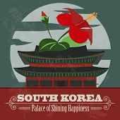 South Korea landmarks. Retro styled image