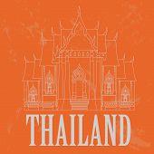 Thailand landmarks. Retro styled image
