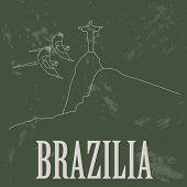 Brazilia landmarks. Retro styled image