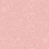 Valentine's Day pattern. Sketch style