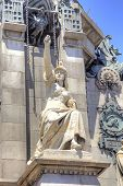 Barcelona. Monument To Christopher Columbus. Pedestal With Sculptures