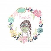 beauty concept, girl with green mask in floral wreath