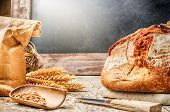 Freshly Baked Bread In Rustic Setting With Copyspace