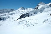 pic of firn  - Crevasses ice and snow on Jungfraufirn nearby Jungfraujoch pass in Alps in Switzerland - JPG