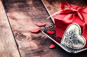 Valentine's Setting With Present And Heart Decoration