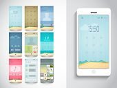 Stylish mobile screen layouts with different web features for mobile user interface on grey background.