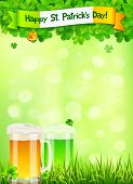 St. Patricks Day leaflet template with beer and clovers on light green background