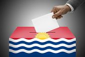 Ballot Box Painted Into National Flag Colors - Kiribati