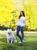 picture of dog park  - Happy woman owner and dog walking in the park sunny warm weather - JPG