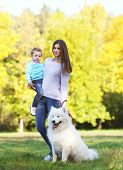 Young Mother And Child Walking With White Samoyed Dog In The Park