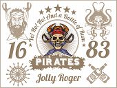 Jolly Roger - Pirate design elements. Vector set.