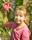 Portrait Of Girl With Red Mallow