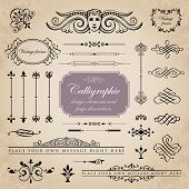 Calligraphic design elements and page decoration set 2