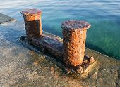 stock photo of big-rig  - the very big old Bollard on moorage - JPG