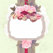 White vertical frame with branches of pink roses and gift boxes