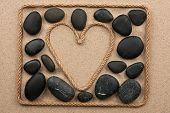 Beautiful Frame Of Rope In The Form Of Heart With Black Stones