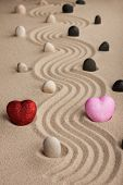 Two Conceptual Heart In The Sand