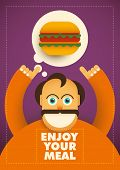 Food background with comic guy. Vector illustration.