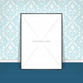 Vector template of frame with poster, placed in interior.