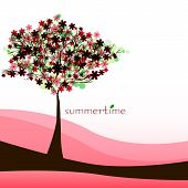 Abstract Nature Background With Tree. Red Summer