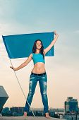 woman with flag