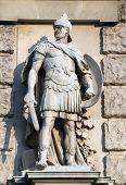 VIENNA, AUSTRIA - OCTOBER 10: Wilhelm Seib: Roman soldier, on the facade of the Neuen Burg on Heldenplatz in Vienna, Austria on October 10, 2014.