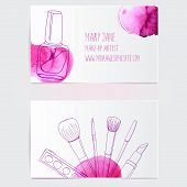 stock photo of lipstick  - Make up artist business card template - JPG