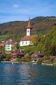 Oberhofen village on the lake Thun, Switzerland