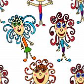 Seamless Pattern With Curly Girls