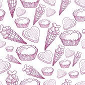 Seamless Pattern With Candy, Ice Cream And Hearts