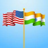 illustration of flag India-America relationship