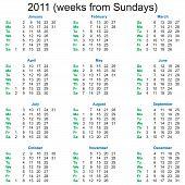 2011 Calendar (weeks from Sundays)