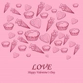Card With Sweet-stuff And Congratulations On The Day Of St. Valentine.eps