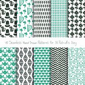 Set of 10 hand drawn patterns for St. Patrick's day