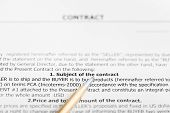 Golden Pen On Sheet Of Sales Contract