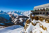 Cafe at Mountains ski resort Bad Gastein Austria - nature and sport background