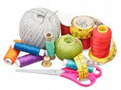Kit Of Sewing Objects Isolated On White